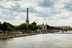 Eiffel Tower and Alexander the Third Bridge, Paris Royalty Free Stock Photo
