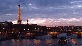 The Eiffel Tower and the Alexandre III Bridge Stock Image
