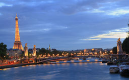 Eiffel Tower and Alexandre III Bridge at dusk, Paris Royalty Free Stock Photography
