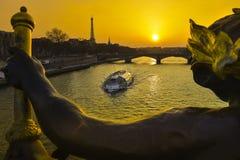 Eiffel Tower since Alexandre III Bridge in Paris Stock Photo