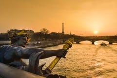 Eiffel Tower since Alexandre III Bridge in Paris Stock Images
