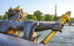 Eiffel Tower since Alexandre III Bridge in Paris, France Royalty Free Stock Photography