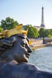 Eiffel Tower since Alexandre III Bridge in Paris, France Royalty Free Stock Image