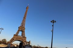 Eiffel Tower on angle afternoon Royalty Free Stock Photography
