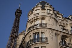 Eiffel Tower and Apartment Building, Paris Stock Photos