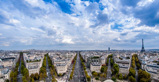 Eiffel Tower from Arc de Triomphe. Eiffel Tower, panorama of Paris fisheye Stock Photography