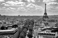 Eiffel Tower from Arc de Triomphe, Paris,. View on Eiffel Tower from Arc de Triomphe, Paris, France - Black and white Royalty Free Stock Image