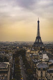 Eiffel tower from arc de triomphe. Photo taken from the Arce de Triomphe in france Stock Images