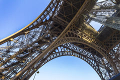The Eiffel Tower architecture from below Stock Images
