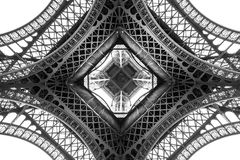 Eiffel Tower architecture detail, bottom view. Unique angle Stock Photography