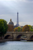 Eiffel tower in autumn. Eiffel tower and quay Seine river, Paris, France Stock Photos