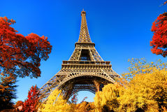 Eiffel Tower in autumn park Royalty Free Stock Image