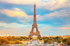 Eiffel Tower in Paris. Eiffel Tower at autumn sunny evening, Paris Royalty Free Stock Photos