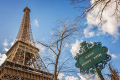 The Eiffel tower and avenue Gustave Eiffel sign, Paris Stock Image