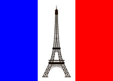 Eiffel tower on background of France flag. Vector illustration Stock Images