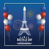 Eiffel tower with balloons and fireworks decoration stock illustration
