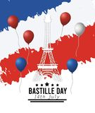 Eiffel tower with balloons and france flag vector illustration