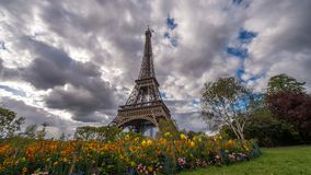 Eiffel tower clouds and flowers stock photos