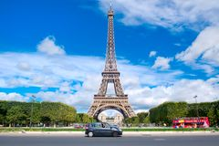 The Eiffel Tower on a beautiful sumer day in Paris. PARIS,FRANCE - JULY 30,2017 : The Eiffel Tower on a beautiful sumer day in Paris Royalty Free Stock Image