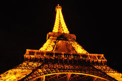 Eiffel tower from below at night Royalty Free Stock Photo