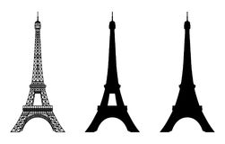 Eiffel Tower Black Silhouette Royalty Free Stock Photography