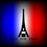 Eiffel tower with black and white candle and text Pray for Paris Stock Images