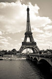 Eiffel tower black and white. Landscape Royalty Free Stock Photo