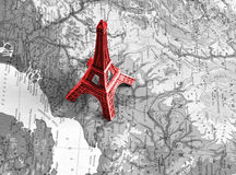 Eiffel tower on the black-white map Stock Photography
