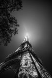 Eiffel Tower in black and white at night Royalty Free Stock Photos