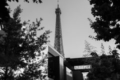 Eiffel Tower, black and white Royalty Free Stock Image