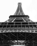 Eiffel Tower. A black and white photo of the Eiffel Tower in Paris from a low angle Royalty Free Stock Photography