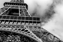 Eiffel Tower in Black and White. Eiffel Tower shot in black and white in Paris France, Fall of 2012 Stock Photo