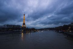 Eiffel tower at blue hour stock photo