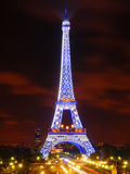 The Eiffel Tower in Blue Illumination Stock Photography