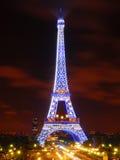The Eiffel Tower in Blue Illumination Stock Photography