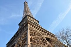 Eiffel tower. With blue sky in background Royalty Free Stock Photography