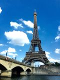Eiffel Tower. In blue sky background Stock Photo