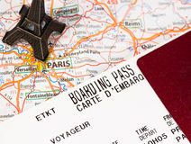 Eiffel tower with boarding pass Stock Images