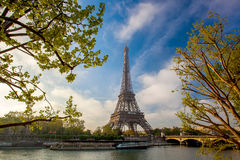Eiffel Tower with boats in Paris, France Stock Photos