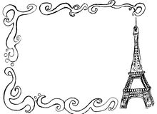 Eiffel tower border. Hand drawn sketch of the eiffel tower with a design in black and white Royalty Free Stock Photography