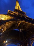 Eiffel Tower from the bottom. Night vibes in France stock photography