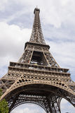 The Eiffel Tower bottom view. This is an image of the Eiffel Tower bottom view. From this perspective it can be seen very well the brown metal structures. The Royalty Free Stock Images