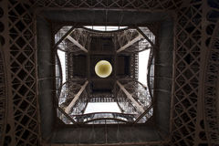 The Eiffel Tower bottom view. This is an image of the Eiffel Tower bottom view. From this perspective it can be seen very well the brown metal structures. The Stock Image
