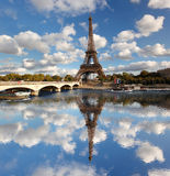 Eiffel Tower with bridge in Paris, France Stock Images