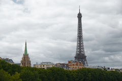 Eiffel Tower Building Tips Cloudy Royalty Free Stock Photography