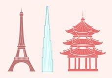 Eiffel Tower, Burj khalifa and Chinese Temple royalty free illustration