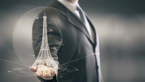 Eiffel Tower Businessman holding in Hand Landmark New technologies. Businessman in the future with futuristic technology with landmark stock video