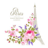 The Eiffel tower card. Eiffel tower simbol with spring blooming flowers over white background. Vector illustration royalty free illustration