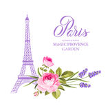 The Eiffel tower card. Eiffel tower simbol with spring blooming flowers over white background. Vector illustration Royalty Free Stock Images