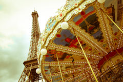 Eiffel Tower and Carousel Stock Photos